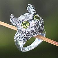 Peridot cocktail ring, 'Mysterious Owl' - Hand Crafted Sterling Silver and Peridot Cocktail Ring