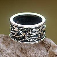 Sterling silver band ring, 'Jakarta Warrior'