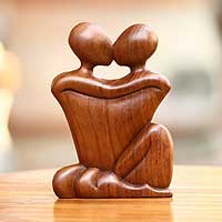 Wood sculpture, 'Kissing' - Romantic Wood Sculpture