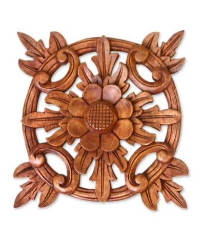 Hand Carved Wood Wall Panel