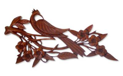 Wood relief panel, 'Avian Elegance' - Wood Bird Relief Panel