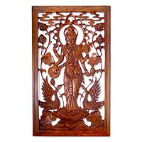 Wood relief panel, 'Goddess of Music' - Hand Made Wood Relief Panel