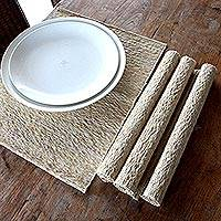 Cotton placemats, 'Nature's Truth' (set of 4) - Set of 4 Natural Fiber Placemats