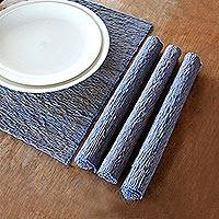 Cotton placemats, 'Blue Nature' (set of 4) - Natural Fiber Cotton Placemats (Set of 4)
