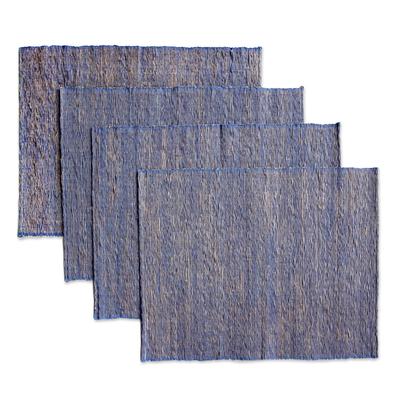 Cotton placemats, 'Blue Nature' (set of 4) - Natural Fiber Cotton Placemats (Set of 4)