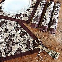 Natural fiber table runner and placemats set, 'Bali Flora' (set of 4) - Handmade Floral Table Runner and Placemats (Set for 4)