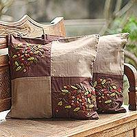 Cotton cushion covers, 'Denpasar Harmony' (pair) - Cotton cushion covers (Pair)