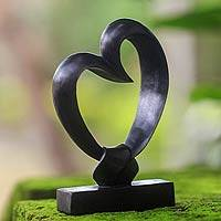 Wood sculpture, 'Bonds of the Heart' - Heart Shaped Sculpture from Indonesia