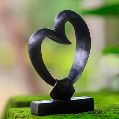 Wood sculpture, 'Bonds of the Heart' - Romantic Wood Sculpture from Indonesia