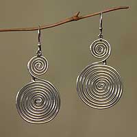 Sterling silver dangle earrings, 'Swirl and Twirl' - Sterling silver dangle earrings