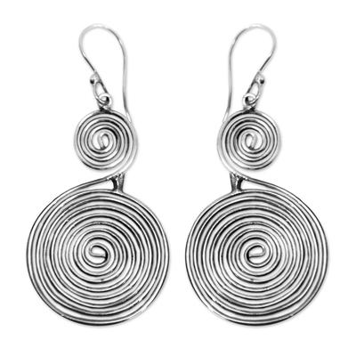 Sterling silver dangle earrings, 'Swirl and Twirl' - Sterling silver dangle earrings