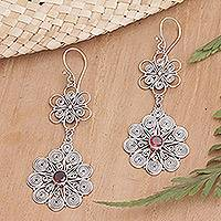 Garnet flower earrings, 'Love Bouquet' - Garnet flower earrings