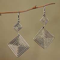 Sterling silver dangle earrings, 'Diamond Path' - Modern Sterling Silver Dangle Earrings