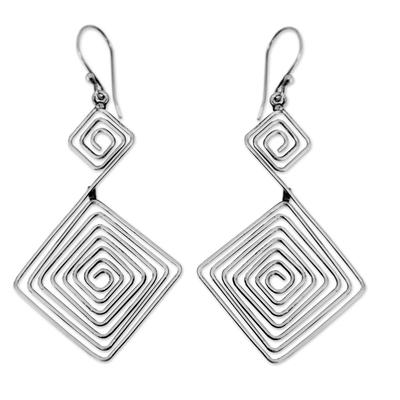 Sterling silver dangle earrings, 'Diamond Path' - Modern Sterling Silver Dangle Earrings