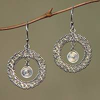 Sterling silver dangle earrings, 'Indonesian Sun' - Sterling silver dangle earrings