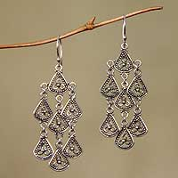 Sterling silver chandelier earrings, 'Bali Belle' - Sterling Silver Chandelier Earrings