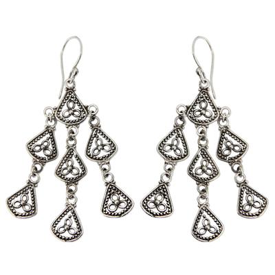 Sterling silver chandelier earrings, 'Bali Belle' - Sterling Silver Chandelier Earrings