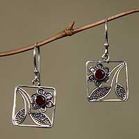 Garnet flower earrings, 'Bali Daisy' - Hand Made Garnet and Sterling Silver Dangle Earrings