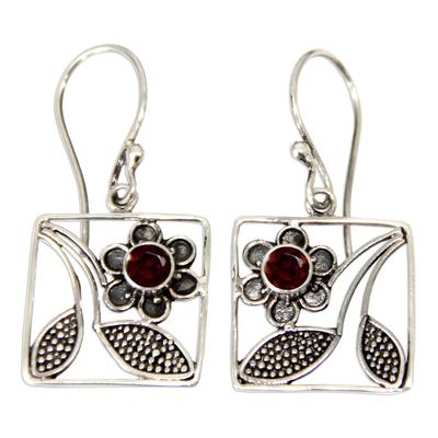 Hand Made Garnet and Sterling Silver Dangle Earrings