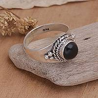 Onyx cocktail ring, 'Promise'