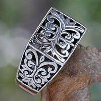 Men's sterling silver ring, 'Emperor' - Men's Unique Sterling Silver Ring from Indonesia
