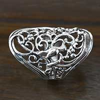 Sterling silver band ring, 'Nightingale' - Indonesian Fair Trade Sterling Filigree Ring