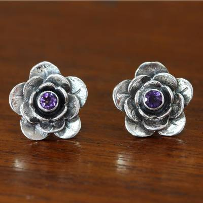 Amethyst flower earrings, 'Camellia' - Handmade Floral Sterling Silver and Amethyst Button Earrings