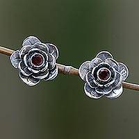 Garnet flower earrings, 'Camellia' - Garnet flower earrings