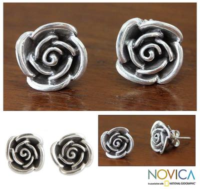 Sterling silver flower earrings, 'Sweetheart Rose' - Fair Trade Sterling Silver Button Earrings