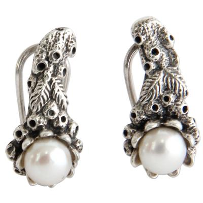 Pearl drop earrings, 'Coral Reef' - Handmade Pearl and Silver Drop Earrings