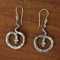 Sterling silver dangle earrings, 'Magic Serpent' - Artisan Crafted Sterling Silver Snake Earrings