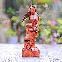 Wood sculpture, 'Mother and Daughter' - Artisan Crafted Wood Family Sculpture