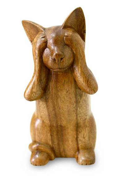 Wood sculpture, 'See No Evil Kitty' - Wood Cat Sculpture from Indonesia