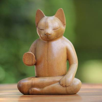 Wood sculpture, 'Blessing Cat' - Original Wood Sculpture from Indonesia