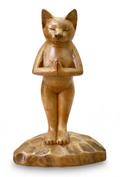 Wood sculpture, 'Cat Gives Thanks' - Hand Crafted Wood Sculpture