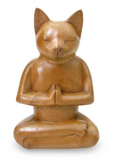 Wood sculpture, 'Cat in Deep Meditation' - Wood Cat Sculpture from Indonesia