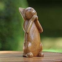 Wood sculpture, 'Wishing Cat' - Handcrafted Fair Trade Wood Prayer Sculpture