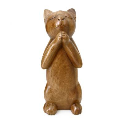 Wood sculpture, 'Wishing Cat' - Handcrafted Prayer Sculpture