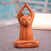 Wood sculpture, 'Toward the Sky Brown Yoga Cat'