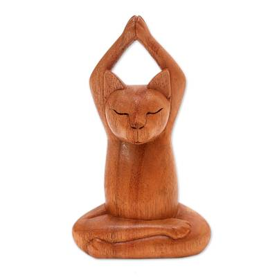 Wood sculpture, 'Toward the Sky Brown Yoga Cat' - Hand Crafted Wood Sculpture from Indonesia