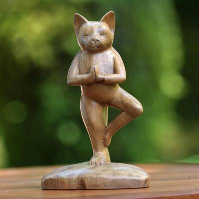 Wood sculpture, Tree Pose Yoga Cat
