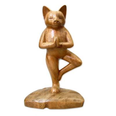 Wood sculpture, 'Tree Pose Yoga Cat' - Original Wood Statuette