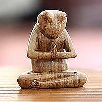 Wood sculpture, 'Asana Pose Yoga Frog' - Carved Meditating Frog Sculpture
