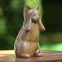 Wood sculpture, 'Hear No Evil Cat' - Wood Animal Sculpture