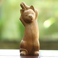 Wood sculpture, 'Kitty Cat Stretch' - Handcrafted Wood Cat Sculpture