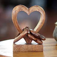 Wood sculpture, 'Heart Power' - Interconnecting Carved Wood Hearts Sculpture