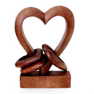 Wood sculpture, 'Heart Power' - Hand Carved Suar Wood Romantic Sculpture
