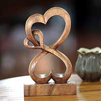 Wood sculpture, 'Love Blossoms' - Handmade Heart Shaped Wood Sculpture