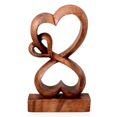 Handmade Heart Shaped Wood Sculpture Love Blossoms Novica