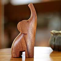 Wood sculpture, 'Essential Elephant' - Handmade Wood Sculpture